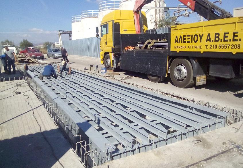 γεφυροπλάστιγγα με θεμελίωση μεταλλική με 8 δυναμοκυψέλες από την ΑΛΕΞΙΟΥ ΑΒΕΕ συστήματα ζύγισης, Αθήνα