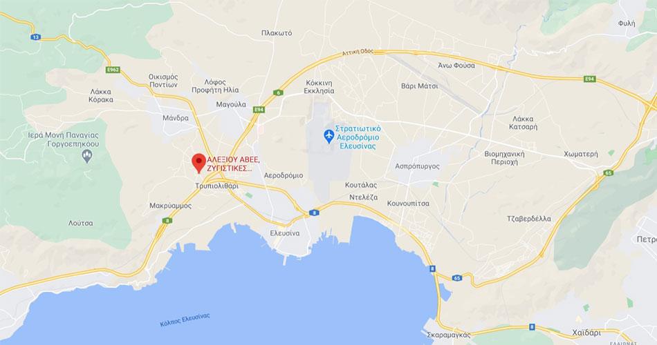 χάρτης τοποθεσίας για την εταιρία Αλεξίου ΑΒΕΕ ζυγιστικές μηχανές και διακριβώσεις, Μάνδρα Αττικής